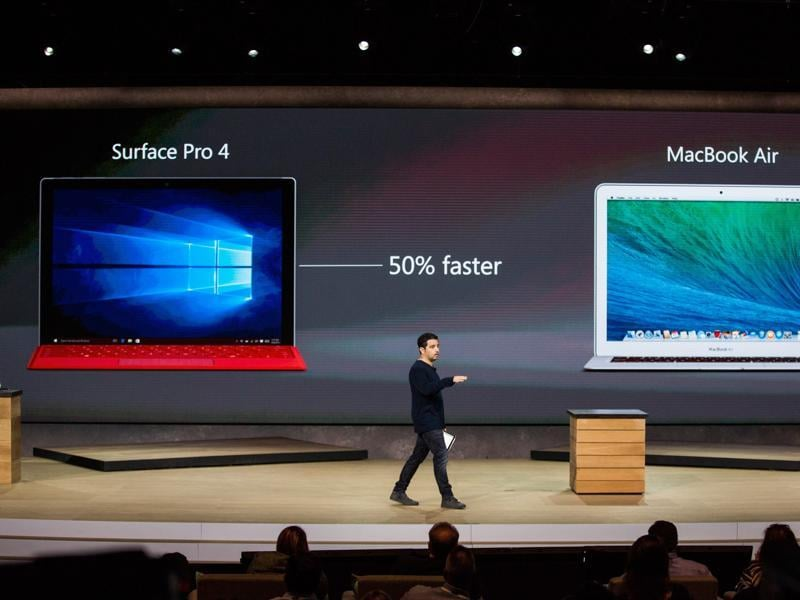 Microsoft puts the Surface Pro 4 in the same class as Apple's MacBook Air and claimed at the event that it is 50% faster than Apple's device.  (AFP)