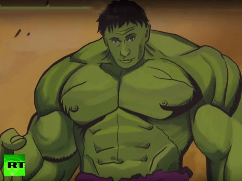"Russian President Vladimir Putin as comic book hero The Hulk in the  ""Putin Universe""  exhibition in Moscow. (Youtube Grab)"