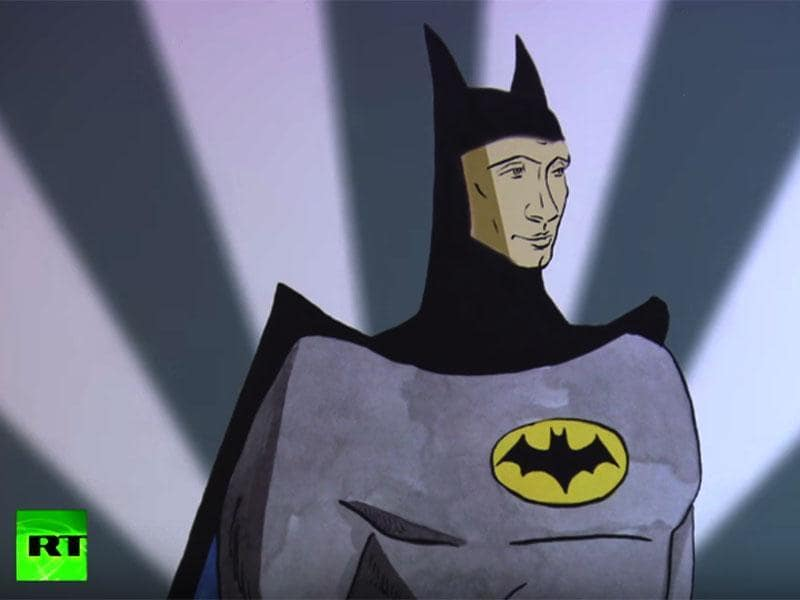 "Russian President Vladimir Putin as comic book hero Batman in the  ""Putin Universe""  exhibition in Moscow. (Youtube Grab)"