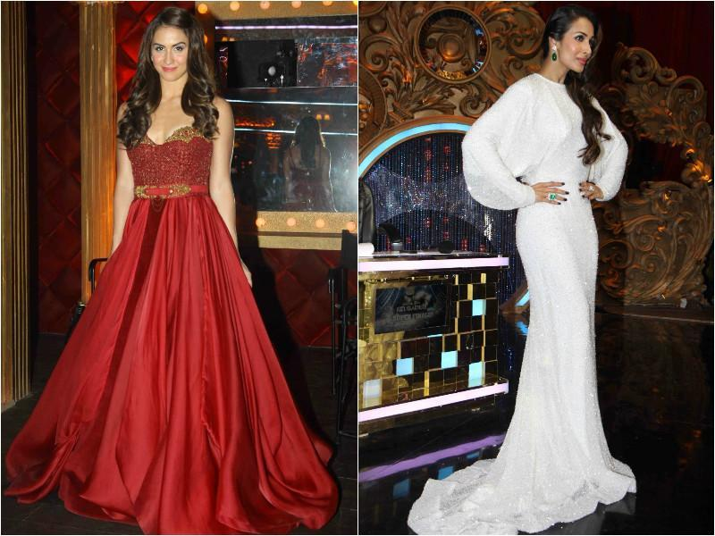 Choreographer and judge Lauren Gottileb and judge Malaika Arora Khan looked gorgeous in red and white dresses. (Agencies)