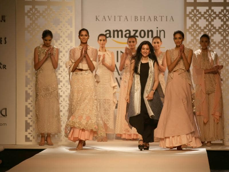 Fashion designer Kavita Bhartia with models.   (IANS)