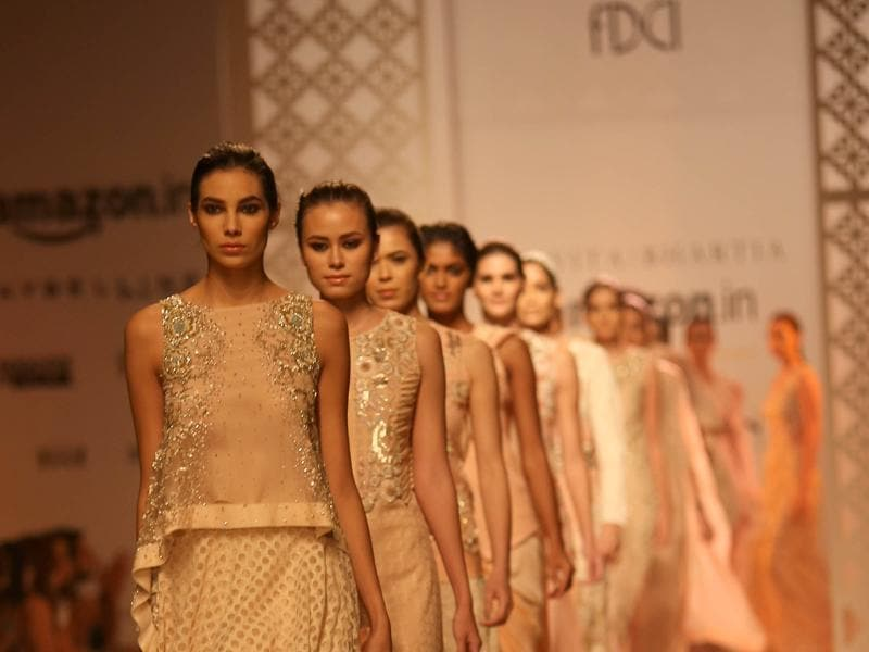 Models showcase  the creation of fashion designer Kavita Bhartia.  (IANS)