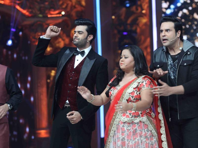 Show host Manish Pal, with Krishna Abhishek and stand-up comedian Bharti Singh at their funny best during the show. (IANS)