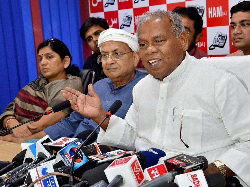Hindustani Awam Morcha (Secular) leader Jitan Ram Manjhi addresses a press conference after releasing second list of candidates for the Bihar Assembly in Patna. (PTI)