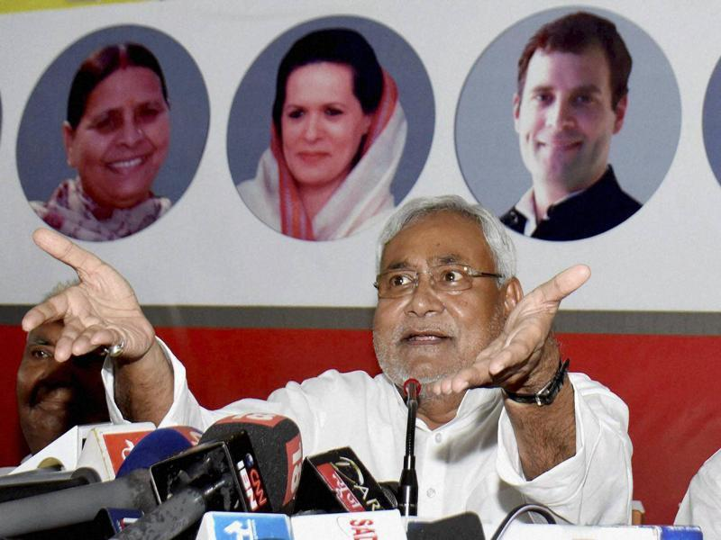 Bihar chief minister Nitish Kumar addresses a press conference after releasing his party candidate list in Patna. (PTI)