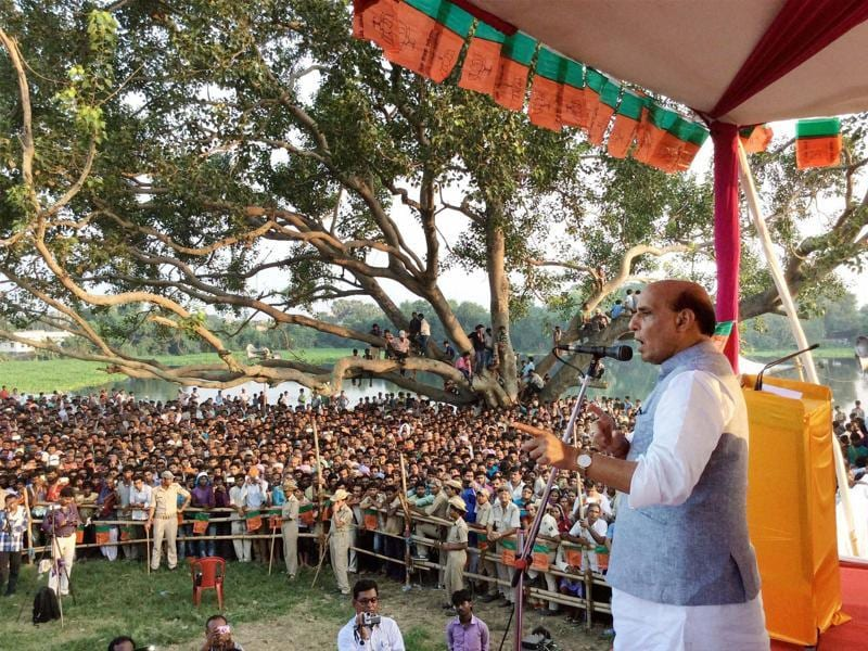 Home minister Rajnath Singh during an election campaign rally at Rosera in Bihar. (PTI)