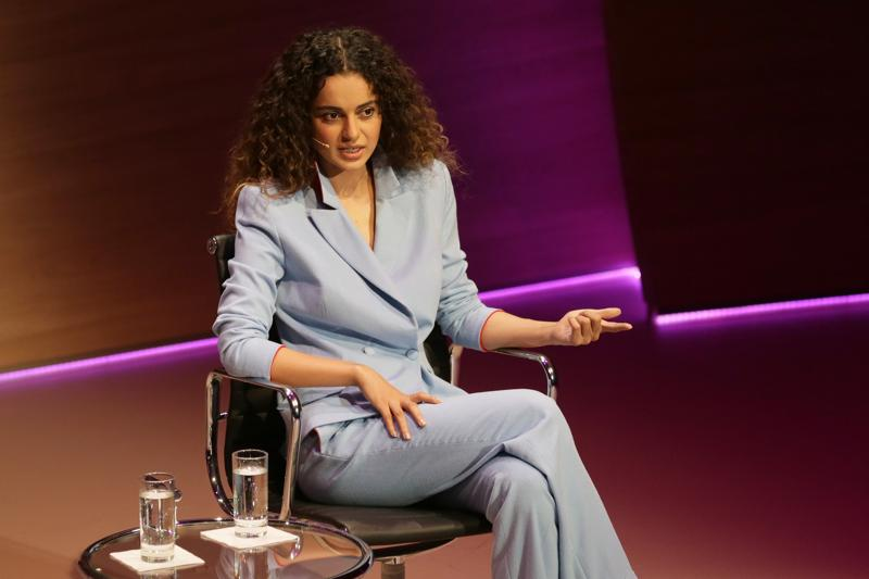 Kangana Ranaut speaks during the Women in the World Summit at Cadogan Hall in London. (AP)