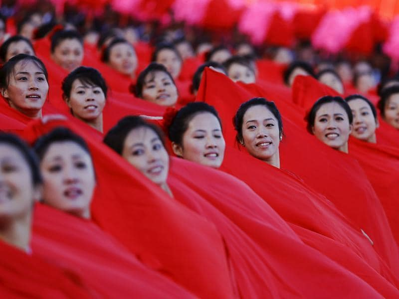 Girls perform in front of a stand with North Korean leader Kim Jong Un during the parade celebrating the 70th anniversary of the founding of the ruling Workers' Party of Korea. (REUTERS)