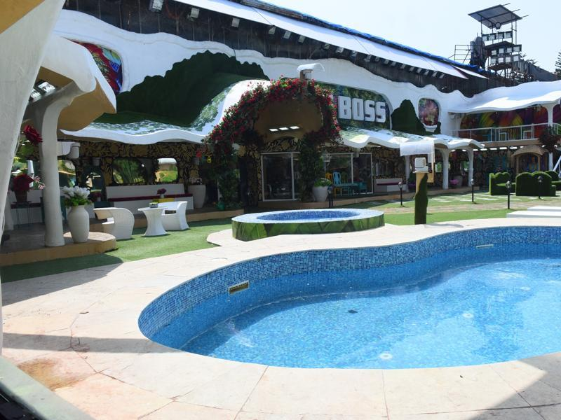 An exterior view of the new season 9 Bigg Boss house with the swimming pool in the foreground and the new Sky Lounge in the background. (Colors)