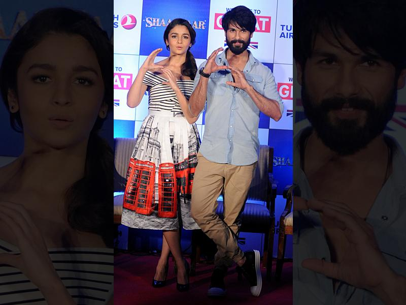 Bollywood actors Alia Bhatt  and Shahid Kapoor attend a promotional event for upcoming Hindi film Shaandaar in Mumbai. (AFP)