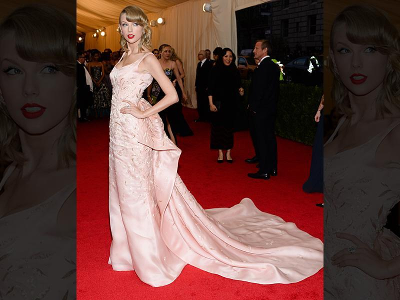 Taylor Swift in an Oscar de la Renta gown which is currently on display at the Savannah College of Art and Design. (AP)