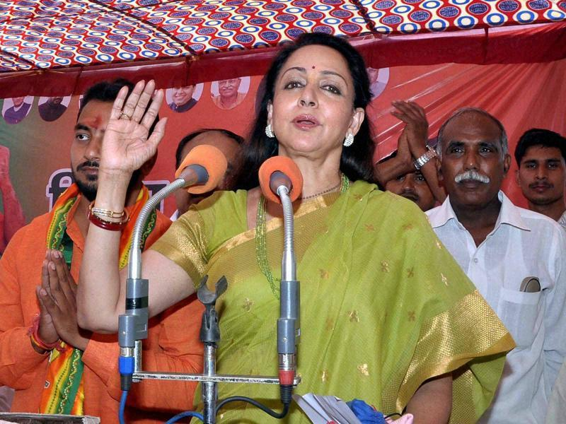 Bollywood actor and BJP MP Hema Malini during a campaign in support of a BJP candiadte for Panchayat elections in Mathura. (PTI)