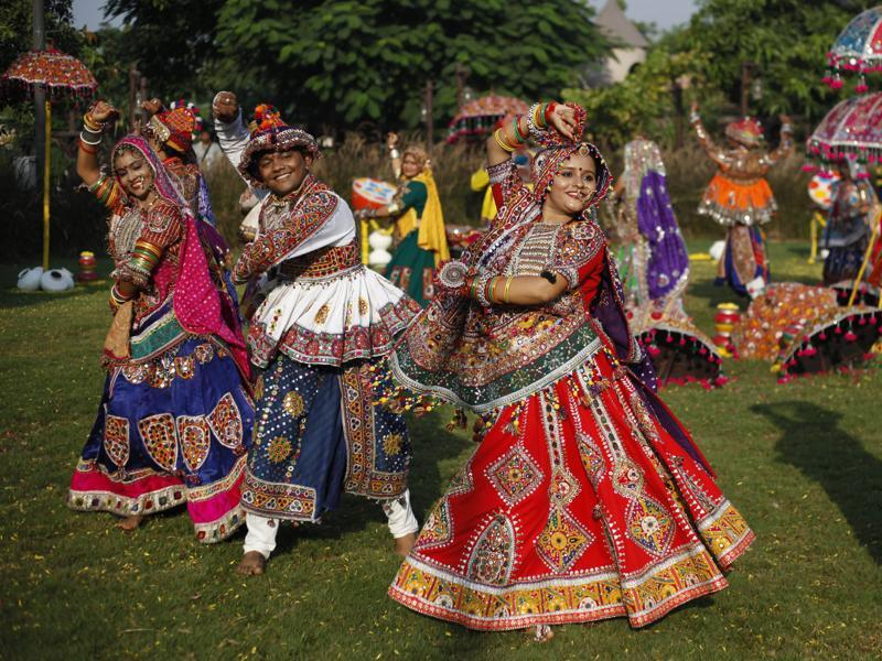 A dance troupe practices Garba ahead of  Navratri in Ahmadabad. (AP)