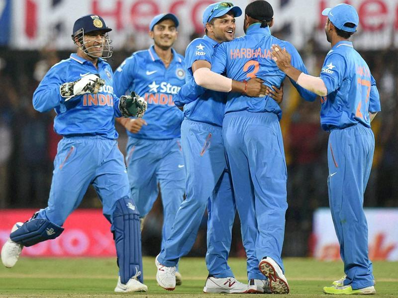 Players celebrate after South African player De Kock falls to Harbhajan Singh's bowling during the 2nd ODI match at Holkar Cricket Stadium in Indore. (PTI Photo)