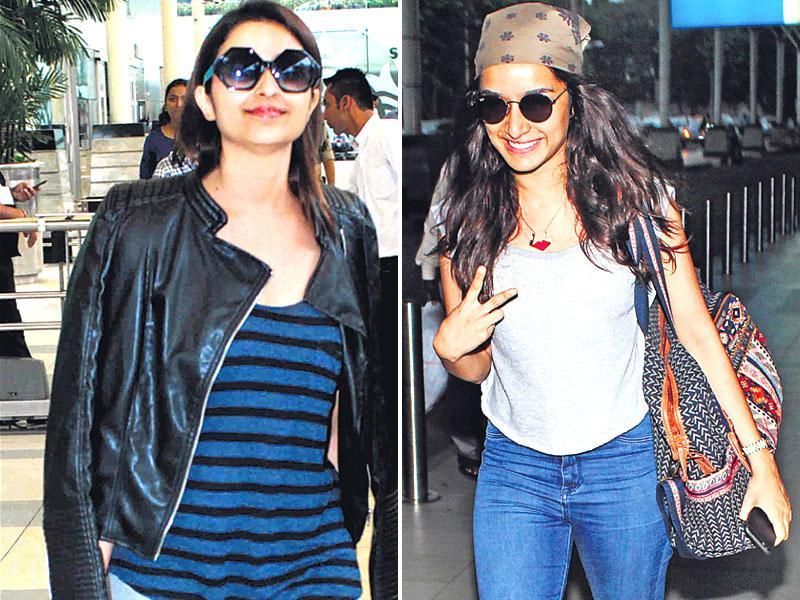 Parineeti Chopra and Shraddha Kapoor at Mumbai Airport (Shakti Yadav/Yogen shah)
