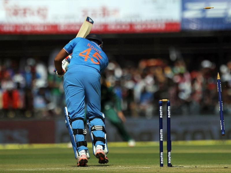India's Rohit sharma gets bowled out. (AP Photo)