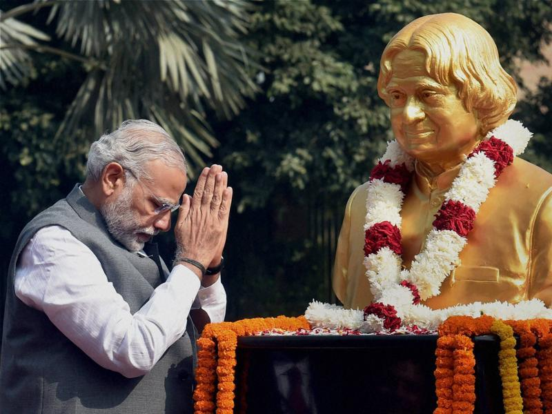 PM Narendra Modi pays tribute to former President APJ Abdul Kalam, on his 84th birth anniversary, at DRDO Bhawan in New Delhi. (PTI)