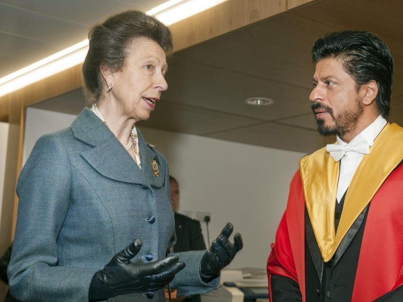 """There's no such thing as 'normal'. That's just another word for lifeless"":  King Khan with the Princess Royal of Edinburgh.   (AP)"