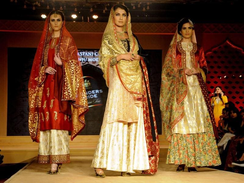 Models walk the ramp at the event. Bajirao Mastani will hit the screens on December 18, 2015. (Parveen Kumar/Hindustan Times)