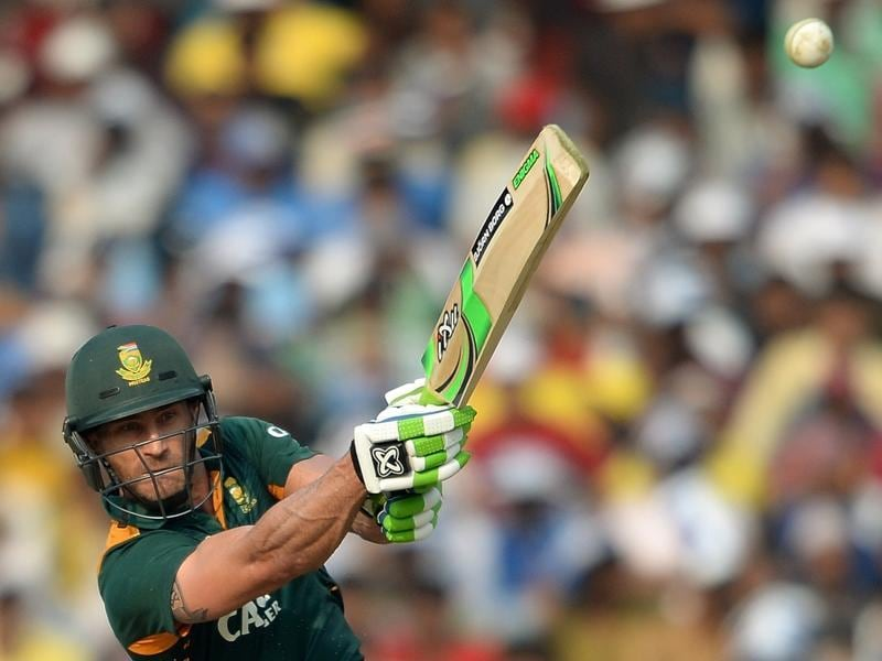 South Africa's Faf du Plessis plays a shot during his knock of 60.  (AFP Photo)