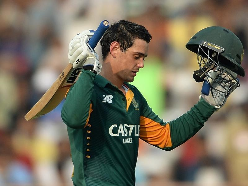 South Africa's Quinton de Kock celebrates after scoring a century during the first innings. (AFP Photo)