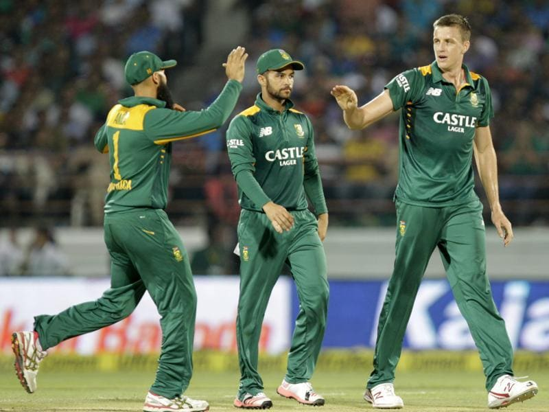 South Africa's players celebrate a wicket during the third ODI against India at Saurashtra Cricket Association Stadium in Rajkot, Gujarat, on October 18, 2015. (Kunal Patil/HT Photo)