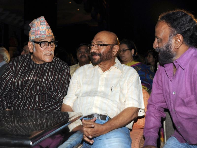 Actor Mohan Agashe, film director, cinematographer, screenwriter and producer Govind Nihalani and film director Ketan Mehta attend the 60th birth anniversary and book launch of Bollywood film, television and theatre actor, the late Smita Patil's biography. (AFP)
