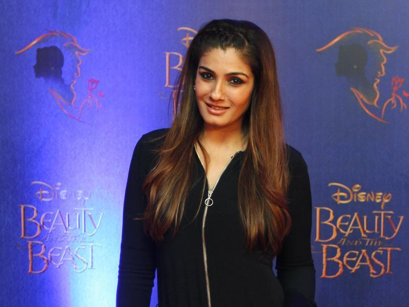 Bollywood actor Raveena Tandon walked on the red carpet for the premiere of Disney India's musical Beauty and the Beast.  (Solaris Images)