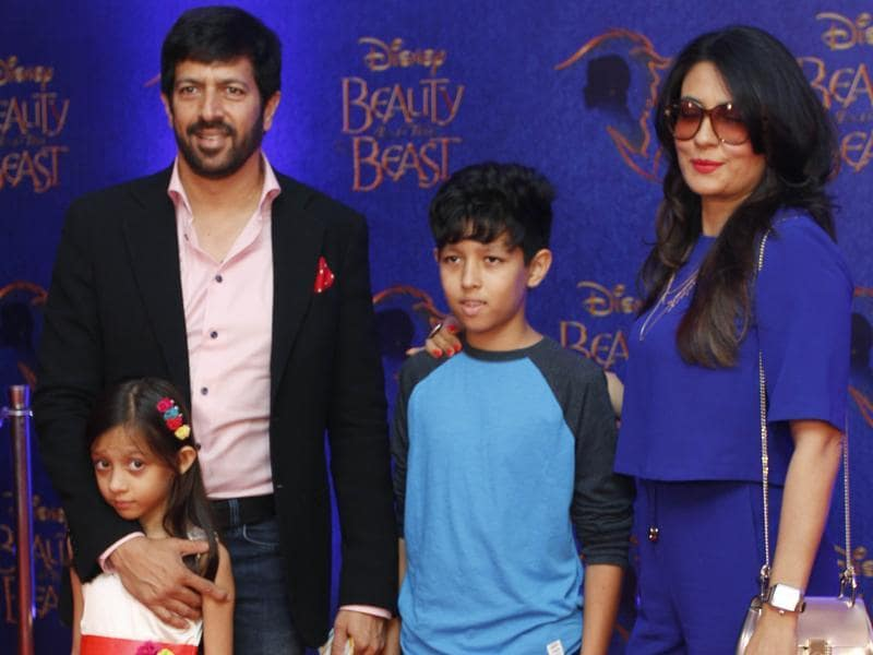 Bollywood filmmaker Kabir Khan arrives with his wife Mini Mathur and their children to attend the premiere.  (Solaris Images)