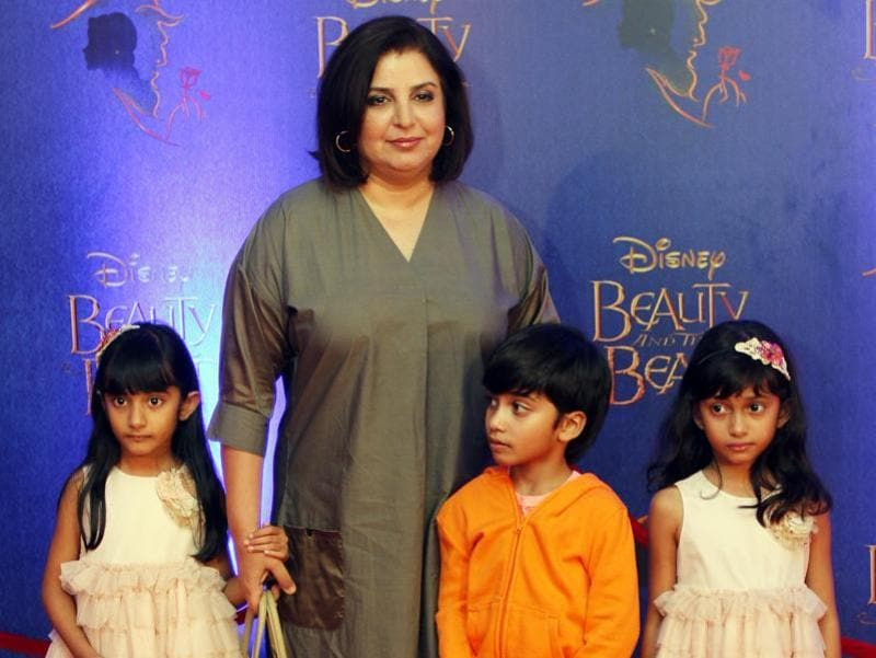 Filmmaker and dance choreographer Farah Khan arrives with her children. (Solaris Images)