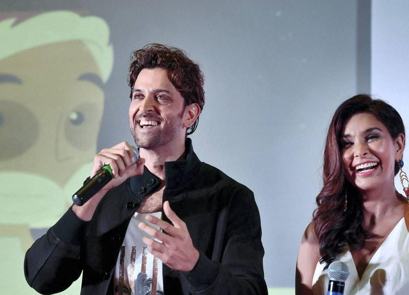 Like when I get to holiday around the world on the producer's budget and call it a 'work trip'. Hrithik Roshan with actress Lisa Ray during the launch of e-commerce website SendMyGift in Bengaluru on Wednesday.  (PTI)
