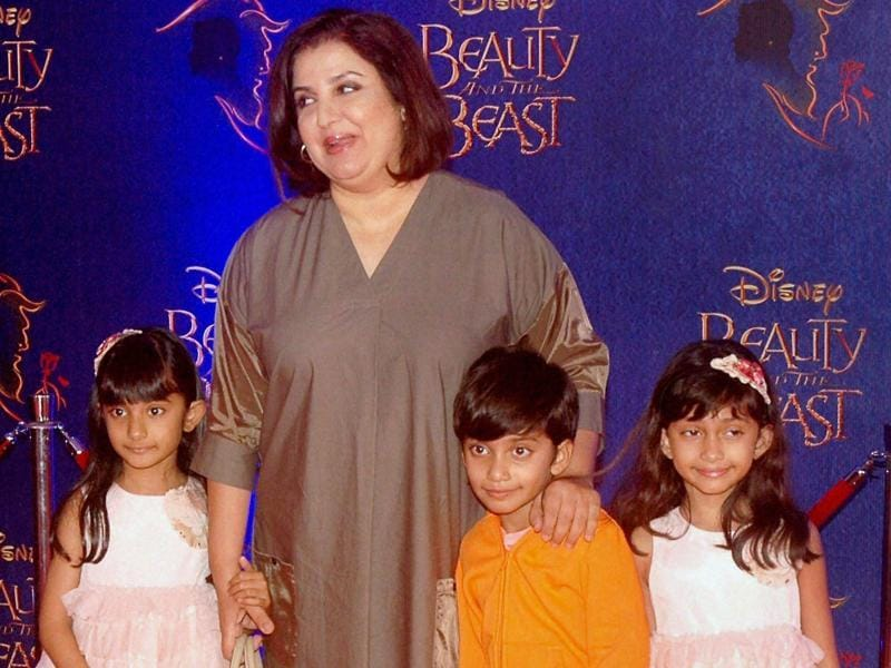 Director Farah Khan with her adorable triplets. (PTI)