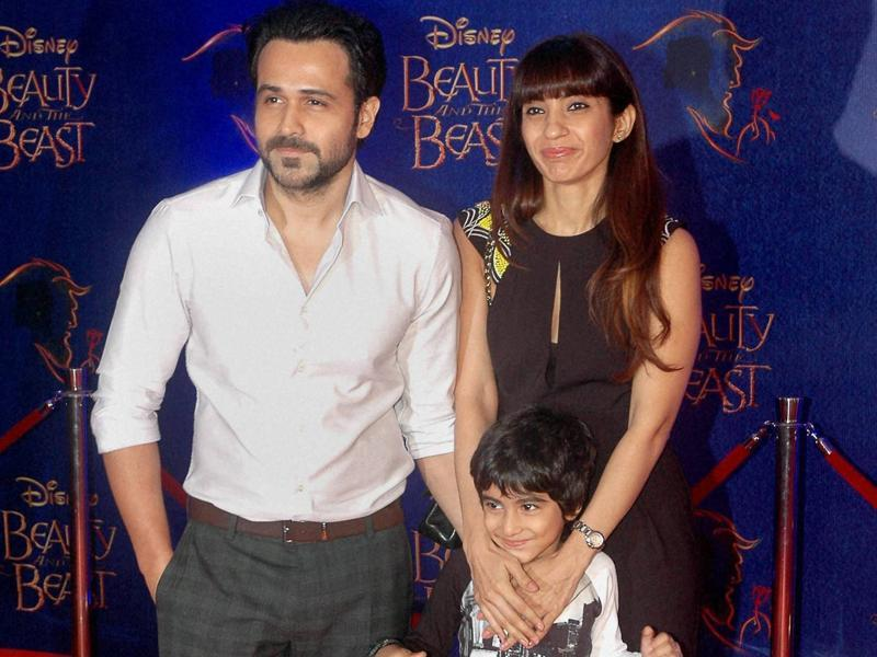 Emraan Hashmi with wife and son during Disney India's Beauty and the Beast event in Mumbai on Wednesday evening.  (PTI)