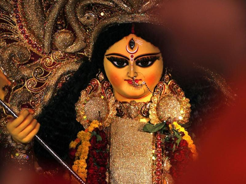 An idol of Goddess Durga on the last day of Puja at a pandal in New Delhi. The five-day Durga Puja festival commemorates the slaying of a demon king Mahishasur by goddess Durga, marking the triumph of good over evil. (Ajay Aggarwal/Hindustan Times)