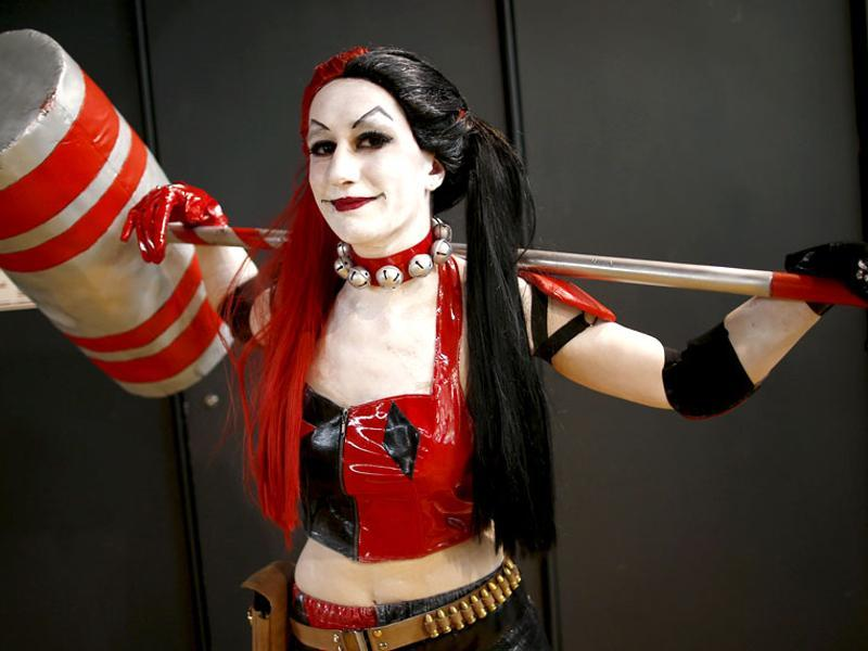 A Paris Comic Con attendee poses as Harley Quinn during the first day of the event in Paris, October 23, 2015. (Reuters)