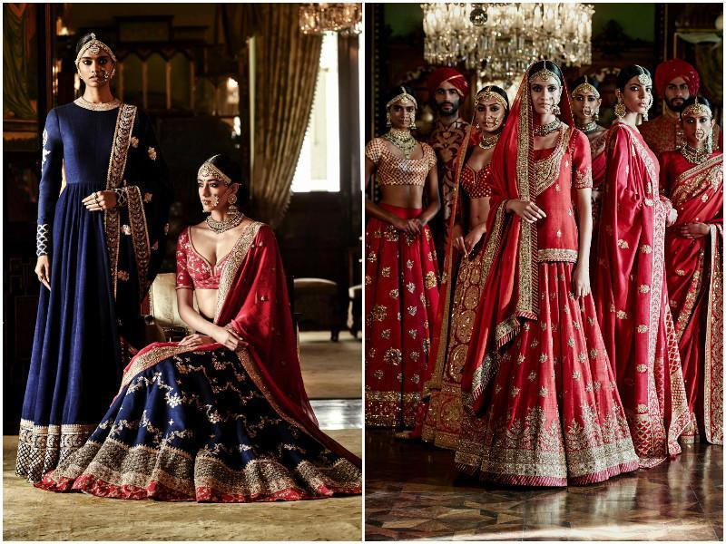 Red contrasted with royal blue creates a stunning impact in this lehenga-choli ensemble by Sabyasachi. You can also look like a royal bride with these scarlet-hued embroidered lehengas.