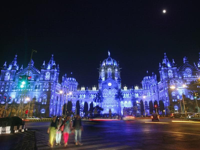 Chhatrapati Shivaji Terminus building illuminated by blue light to commemorate the 70th anniversary of the United Nations in Mumbai. (HT Photo)