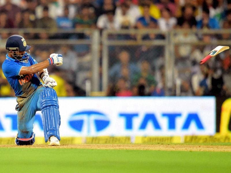 Ajinkya Rahane's bat slips from his hand while batting. Rahane top-scored for India with 87. (PTI Photo)