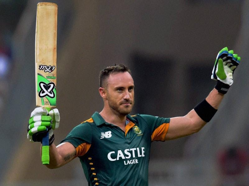 South Africa's Faf du Plessis raises his bat in celebration of his century. (PTI Photo)