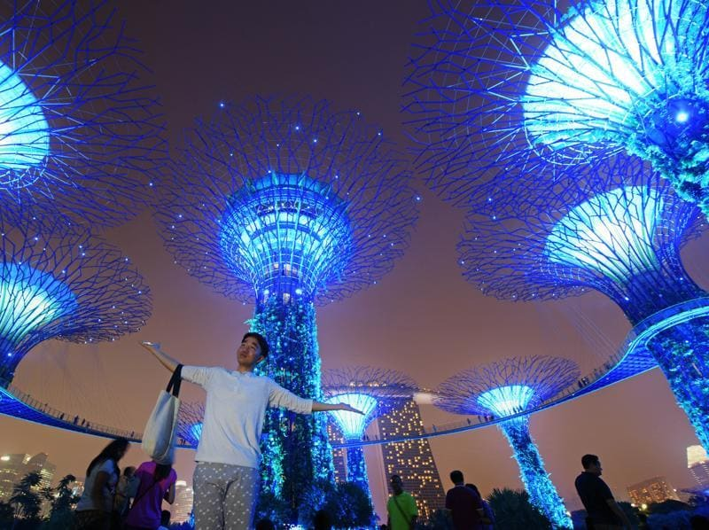 A visitor poses for a picture with the supertrees at Singapore's gardens by the bay as the trees are lit in the blue hues of the United Nation's logo in celebration of its 70th anniversary. The island city-state is also celebrating 50 years as a member of United Nations.  (AP)