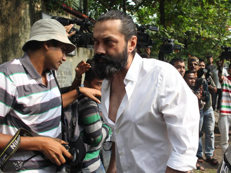 Bobby Deol during the funeral of actor Ajit Deol in Mumbai.  (IANS)