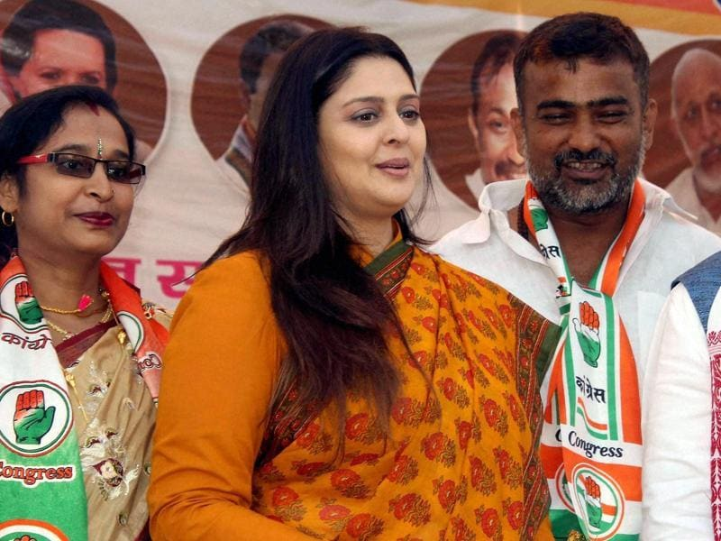 Nagma addresses an election rally in Sitamardhi (Bihar) on Saturday.  (PTI)