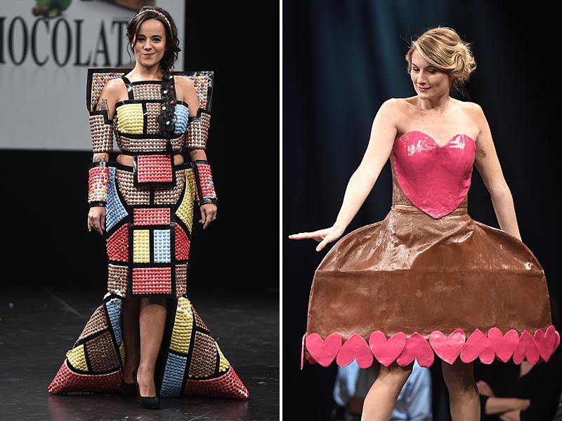 French singer Alizee and TV host Sandrine Arcizet in a  chocolate studded dress.  (AFP)