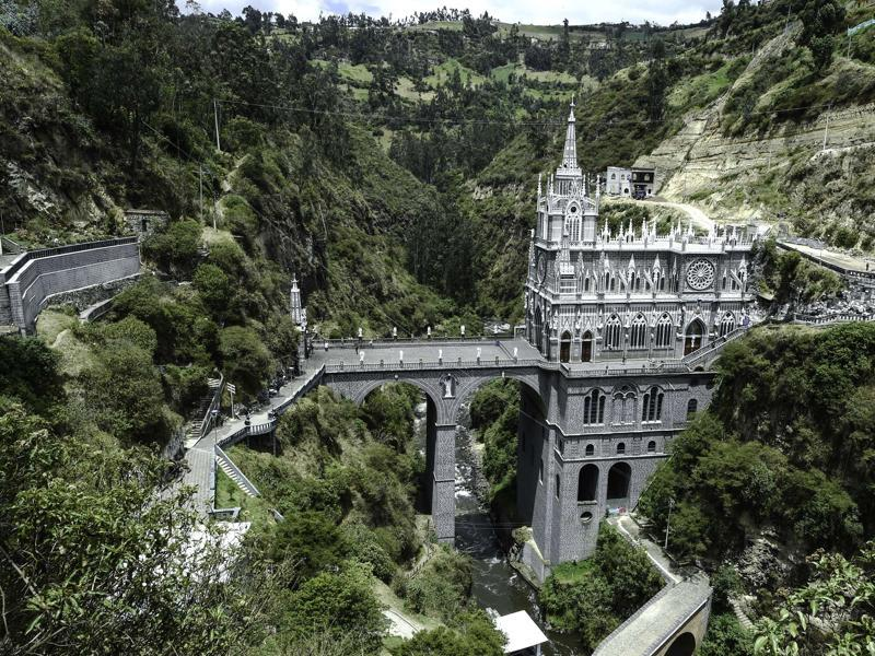 Set deep in the Andes mountain range in Colombia is a spectacular church called Our Lady of the Rosary of Las Lajas. (AFP)