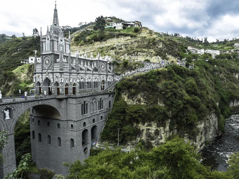 Another view of the sanctuary of Our Lady of the Rosary of Las Lajas in Ipiales on October 22, 2015. (AFP)