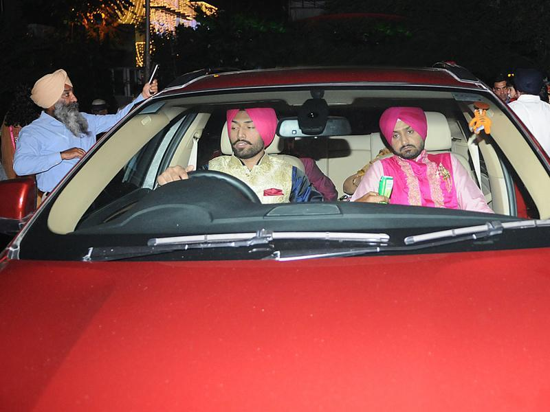 Harbhajan Singh leaves for Geeta Basra's place where the celebration of  sangeet will be held in a resort near Phagwara, Punjab.  (Pardeep Pandit/HT Photo)