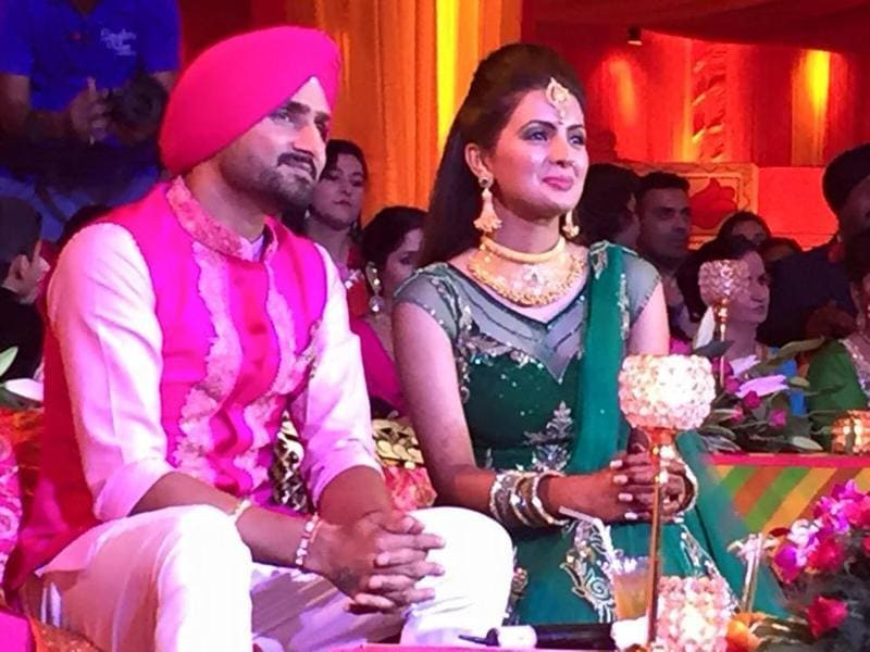 Harbhajan Singh and Geeta Basra shared this picture from a pre-wedding function in Jalandhar. (HT Photo)