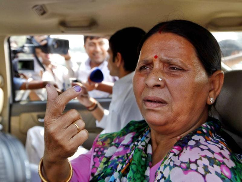 RJD leader Rabri Devi after casting her vote at Vetrinary college in Patna on Wednesday. (Arvind Yadav/HT Photo)