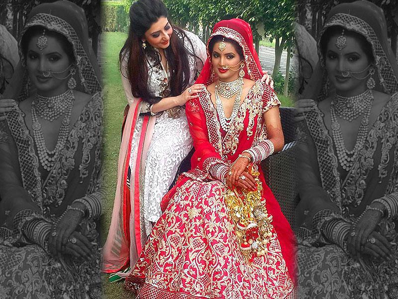 Designer Archana Kochhar revealed the bride's look - Geeta Basra in a red lehenga. (TWITTER/ARCHANAKOCHHAR)