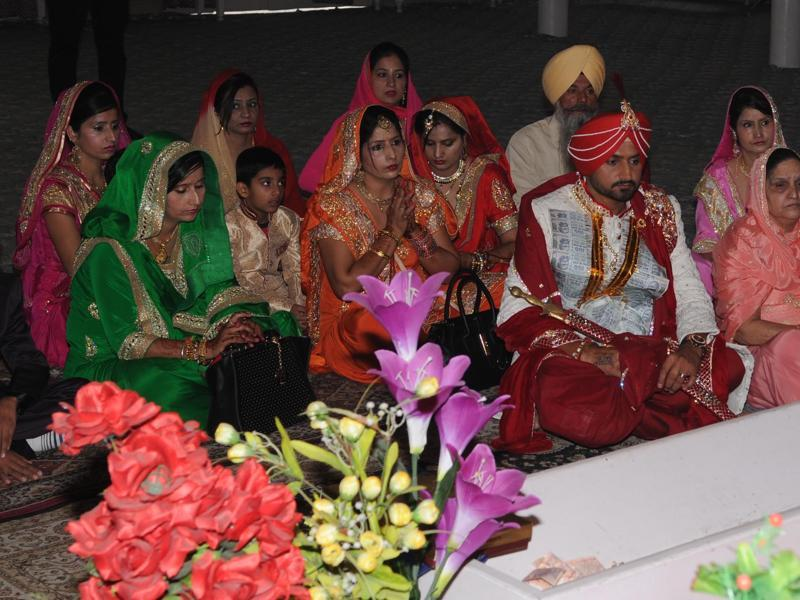 Harbhajan Singh  got married with Geeta Basra at a private ceremony in Punjab on Thursday morning. (Pardeep Pandit/HT Photo)